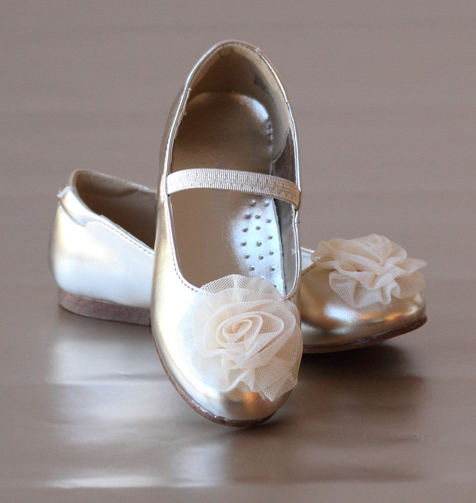 L'Amour Girls Gold Organza Rose Flats