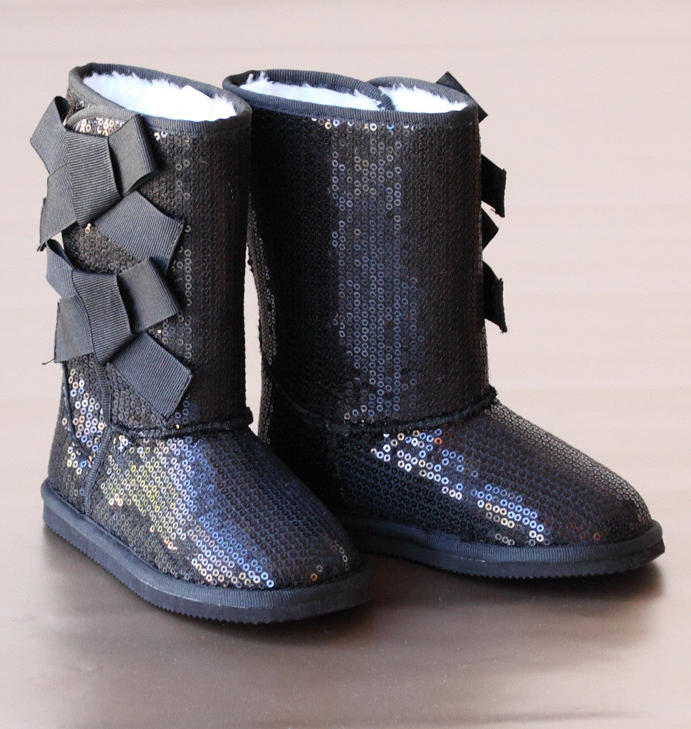 L'Amour Girls Black Sparkling Sequin Bow Boot