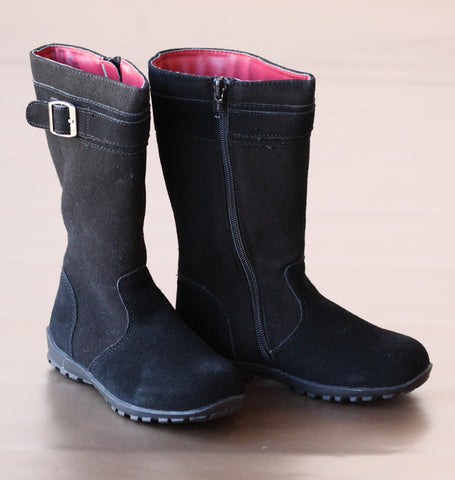 FINAL SALE: L'Amour Girls Tall Leather Buckle Boots