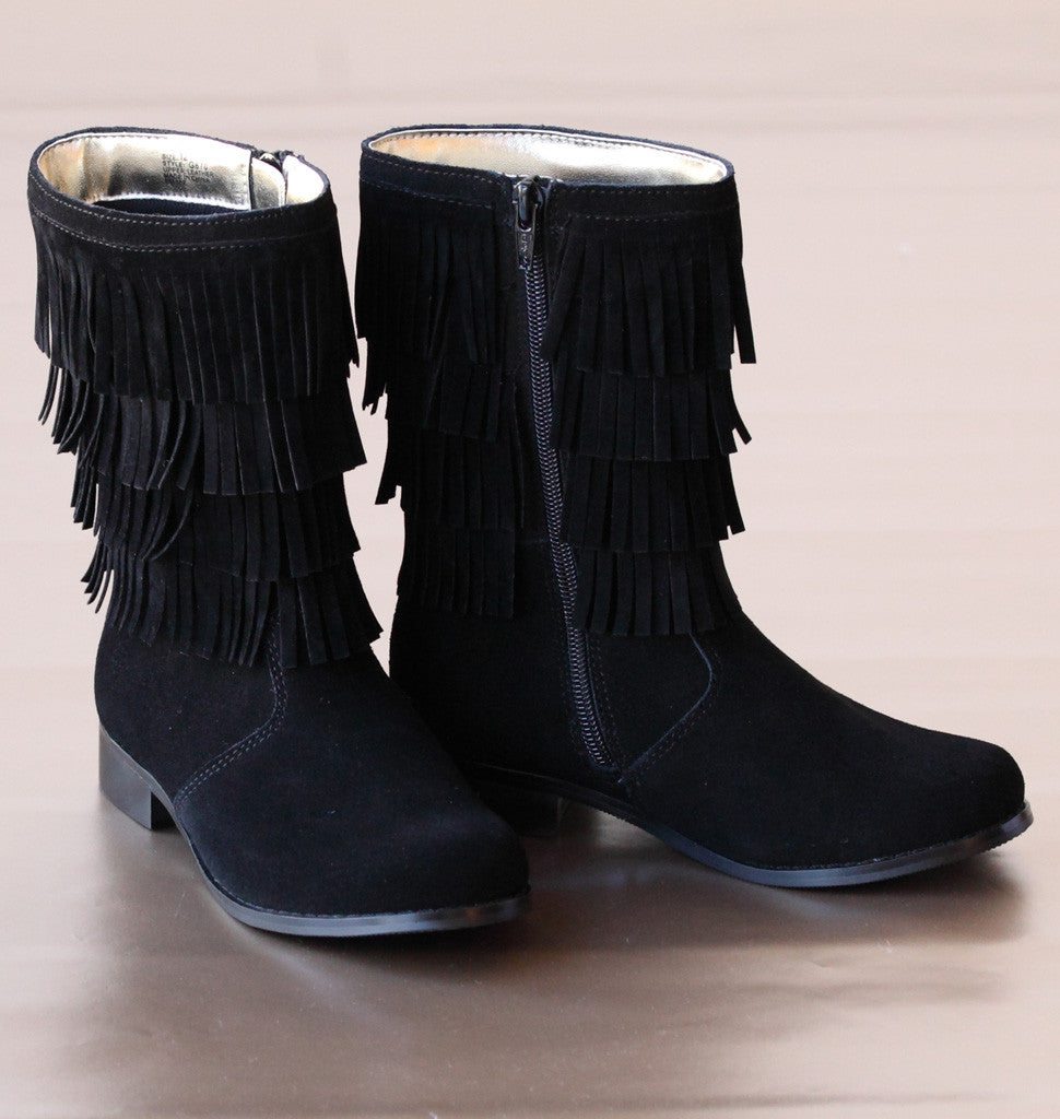 L'Amour Girls Black Suede Fringed Fashion Boots