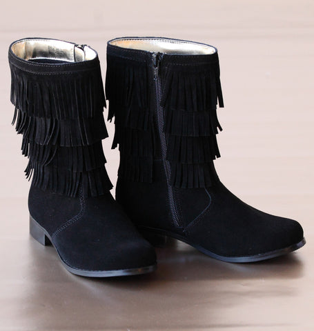 FINAL SALE: L'Amour Girls Black Suede Fringed Fashion Boots