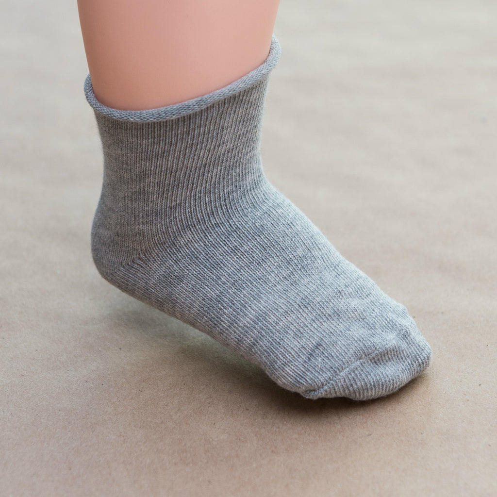 Baby Gray Cotton Ankle Socks - Petitfoot.com