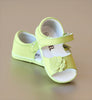 Angel Baby Girls Lime Open Toe Leather Flower Sandal