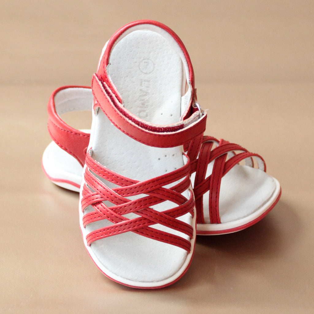 L'Amour Girls Red Lattice Sandal