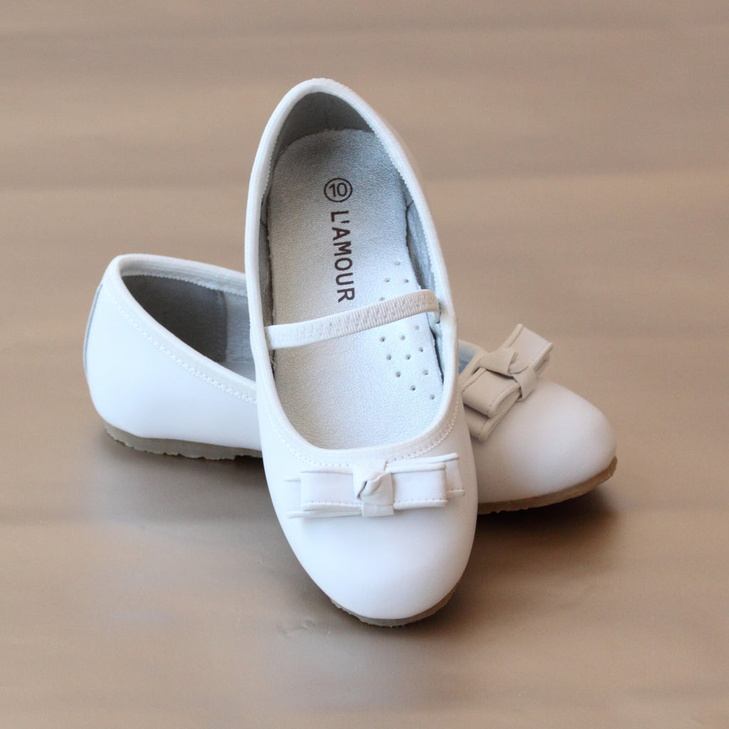 L'Amour Girls White Double Bow Ballet Flat