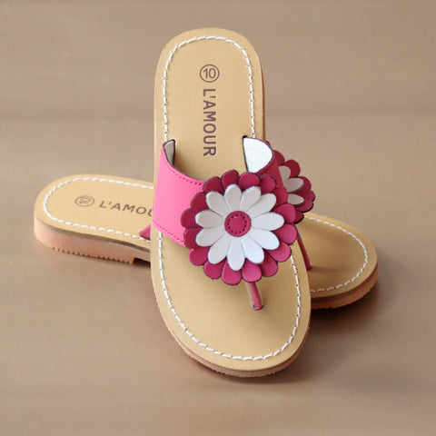 L'Amour Girls Gerbera Daisy Leather Thong Sandal
