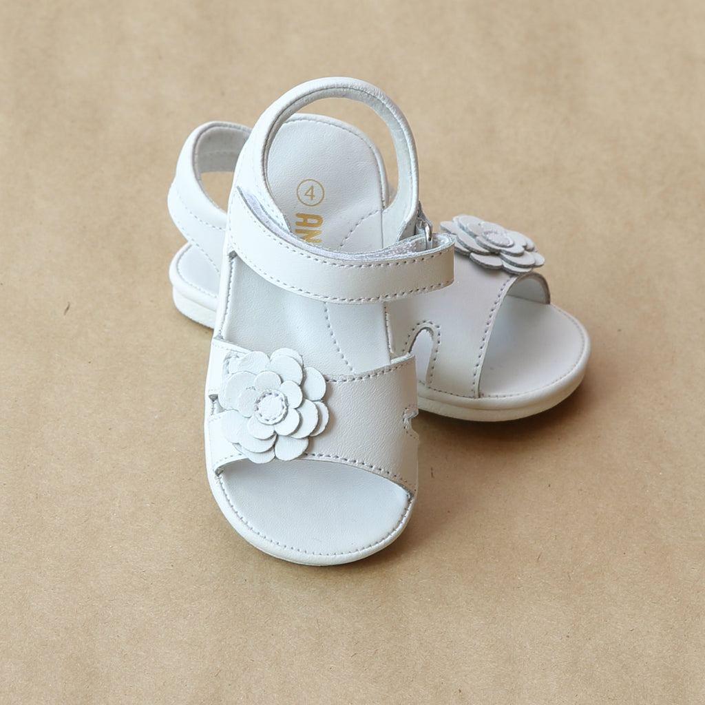 Angel Baby Girls White Flower Cut Out Leather Sandal - Petitfoot.com