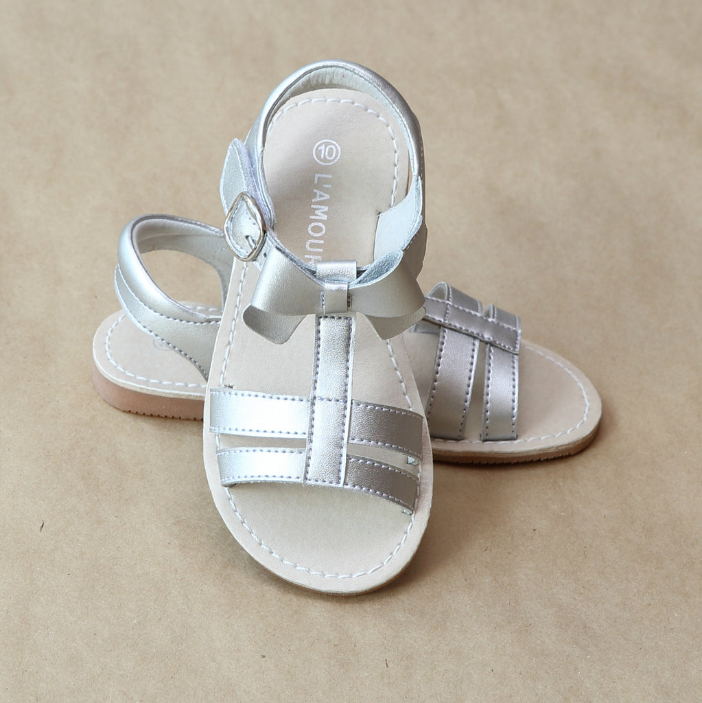 L'Amour Girls Silver Leather T-Strap Bow Sandal - Petitfoot.com