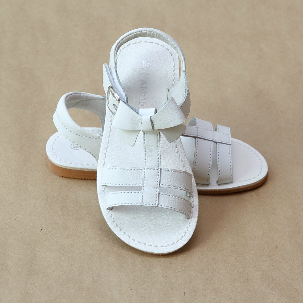 L'Amour Girls White Leather T-Strap Bow Sandal - Petitfoot.com