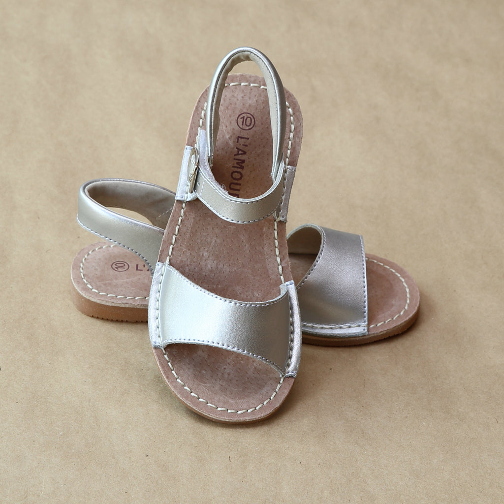 L'Amour Girls Silver Leather Stitch Down Open Toe Flat Sandal - Petitfoot.com