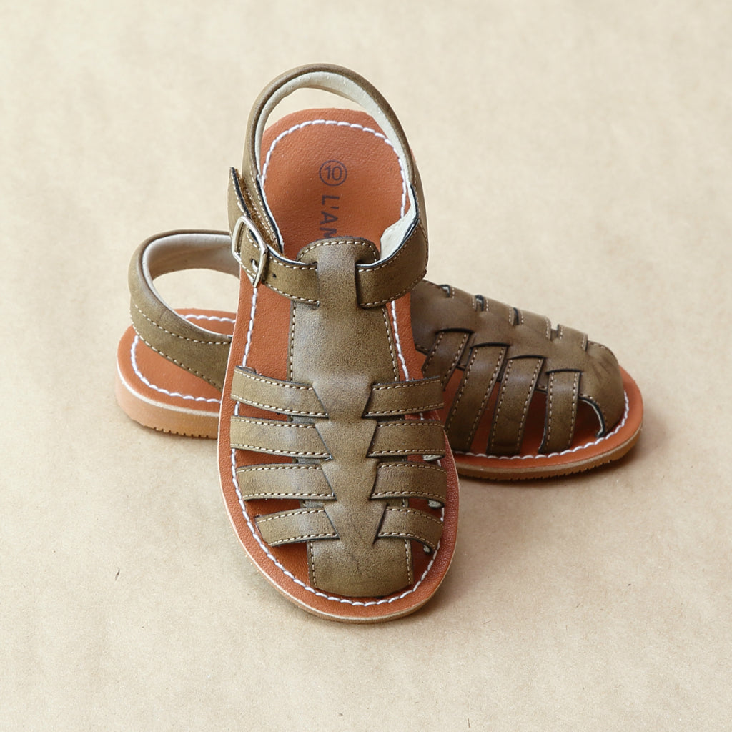 L'Amour Boys Khaki Caged Vacation Fisherman Sandal - Petitfoot.com