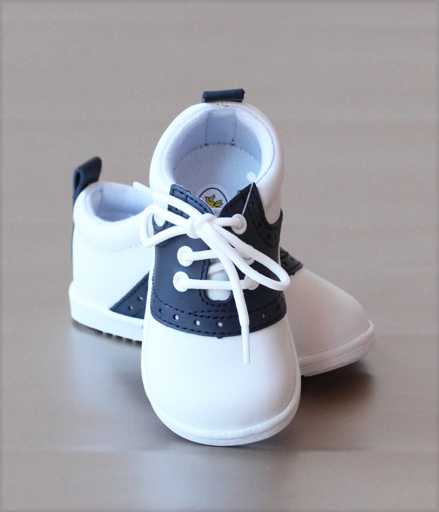 Angel Baby Boys Navy Leather Lace Up Saddle Oxford Shoe