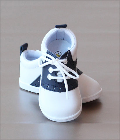 Angel Baby Boys Leather Lace Up Saddle Oxford Shoe
