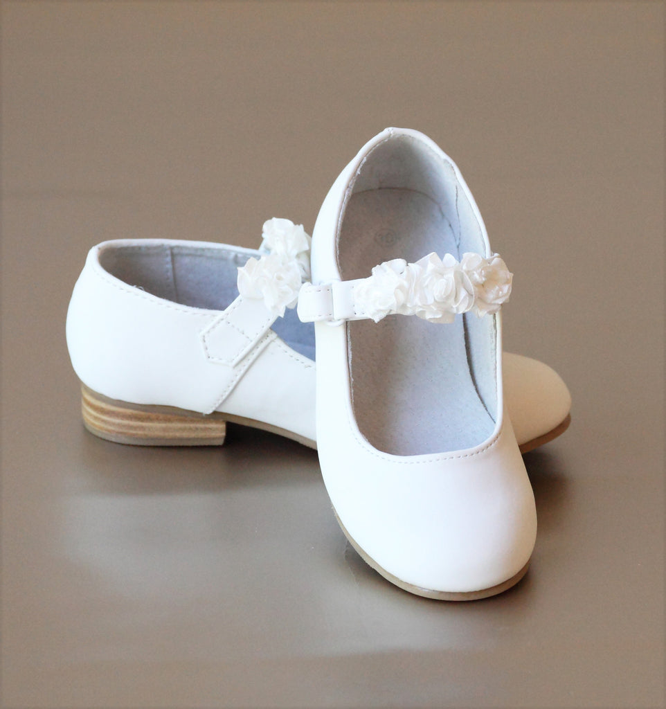 L'Amour Girls White Rosette Ankle Strap Leather Flat