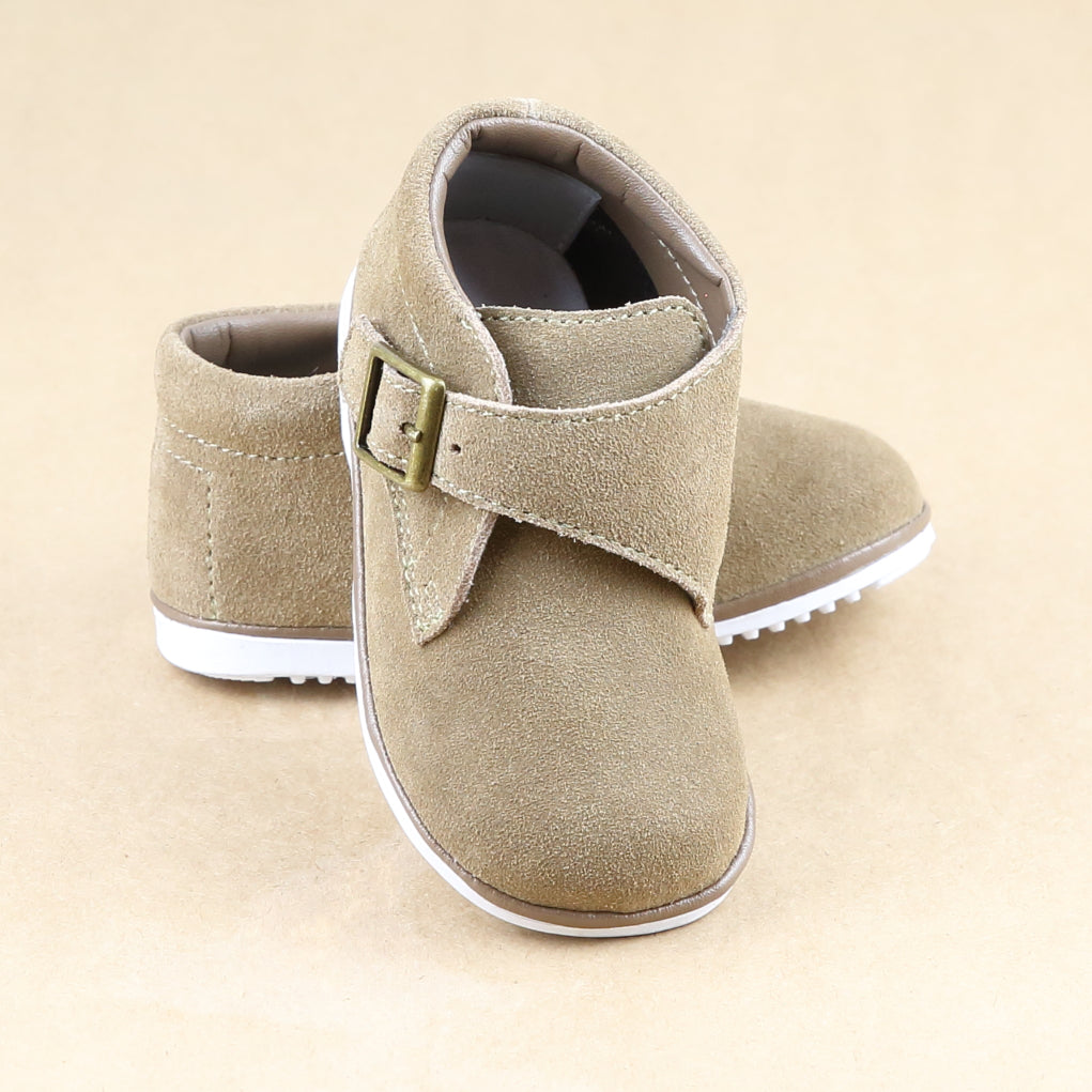 Angel Baby Boys Finch Buckled Strap Khaki Suede Leather Boot - Petitfoot.com