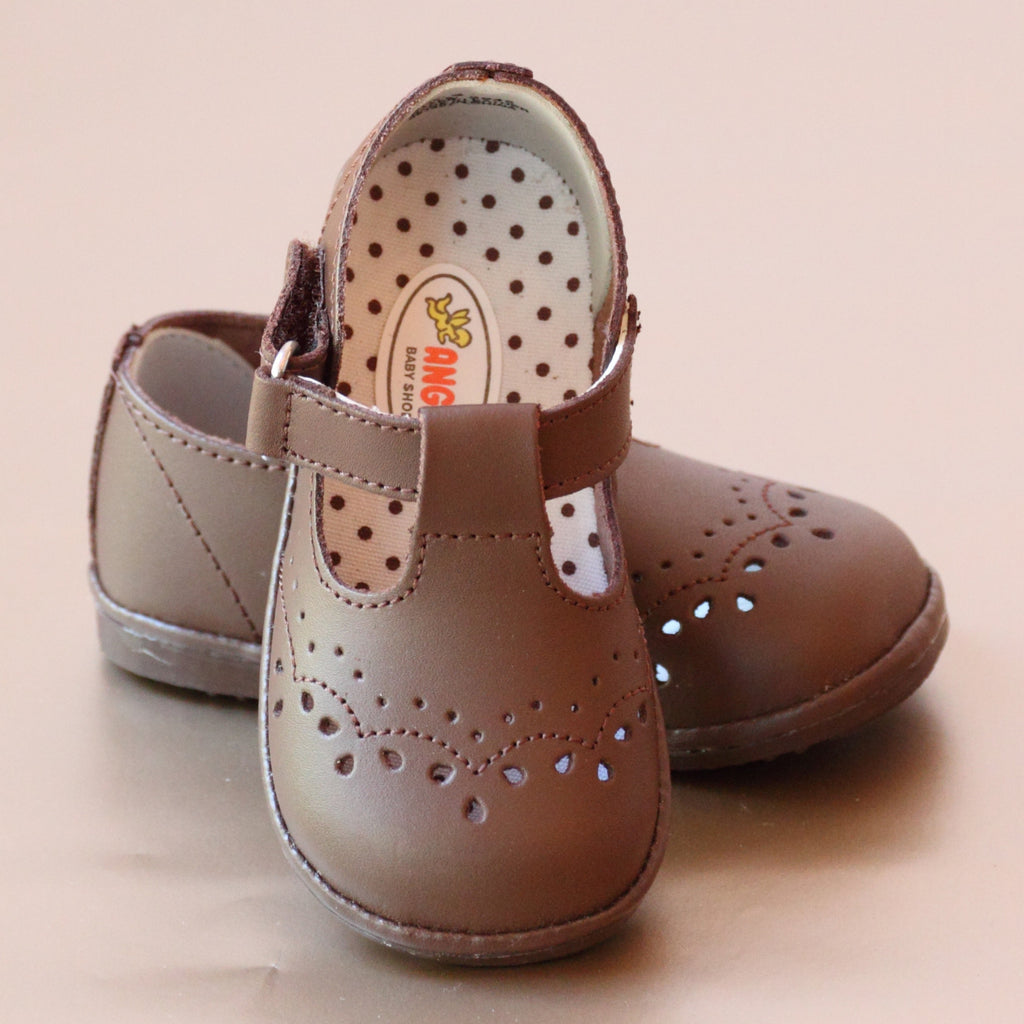 Angel Baby Girls T-Strap Brown Leather Mary Janes
