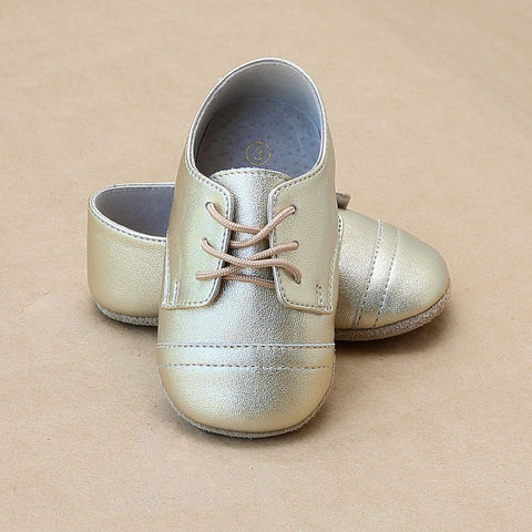 Infant Boys Gold Derby Crib Shoe