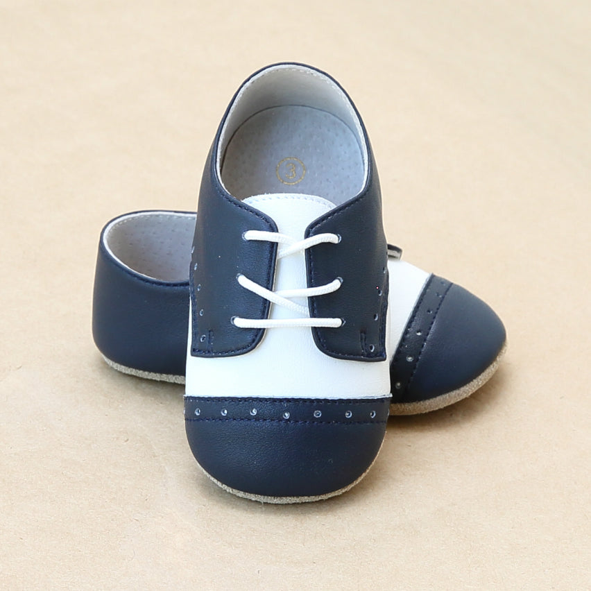 Infant Boys Leather Saddle Derby Crib Shoe