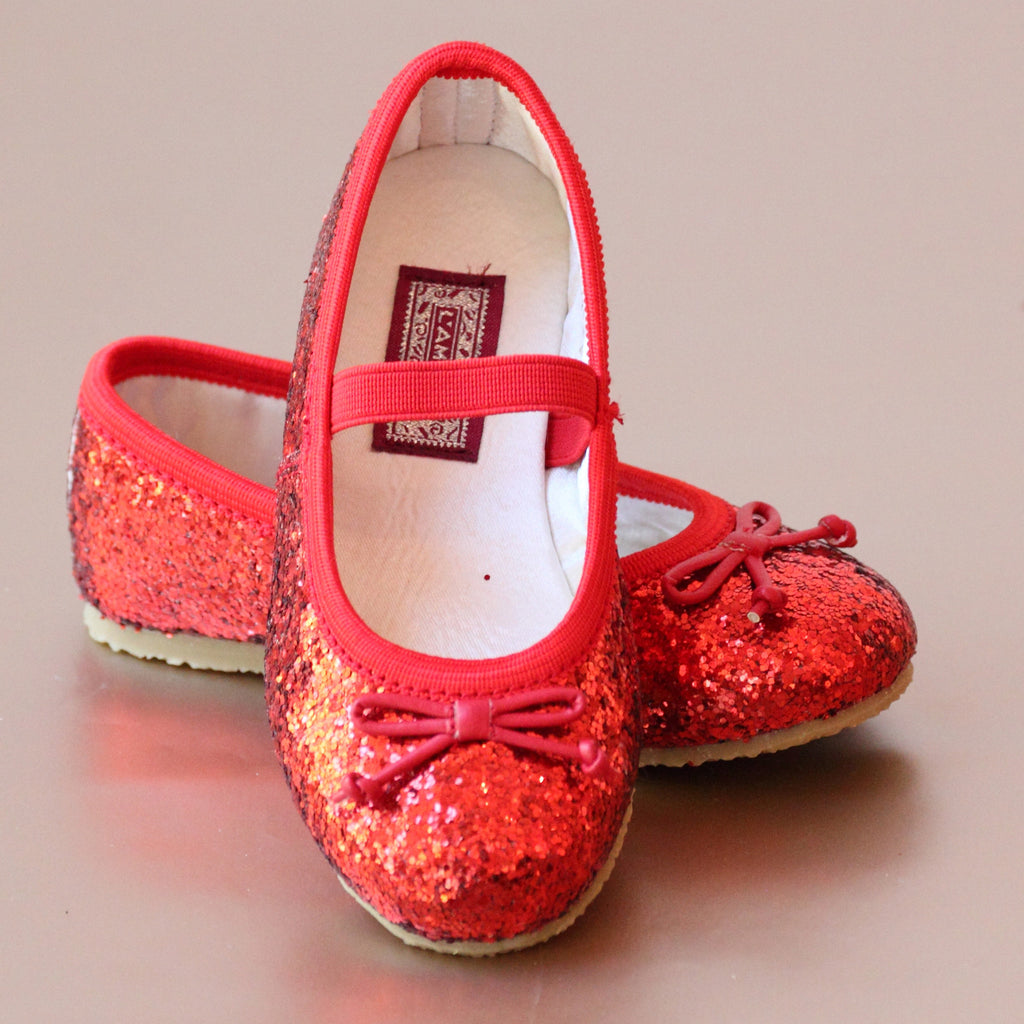 L'Amour Girls Red Glitter Ballet Flats