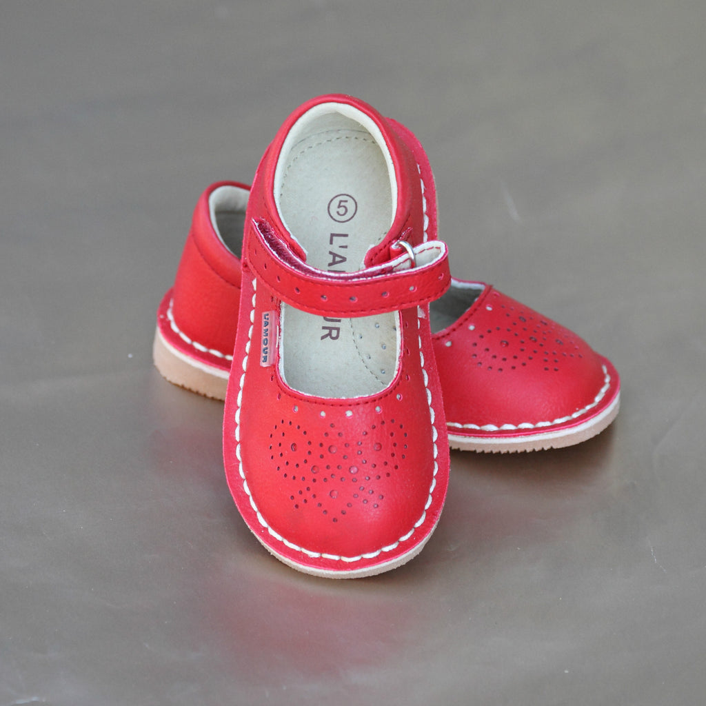 L'Amour Girls Red Perforated Pattern Toe and Strap Stitch Down Mary Jane