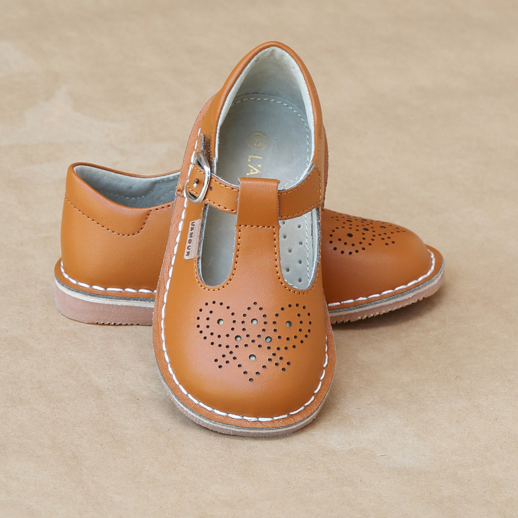 Toddler Girls Vintage Inspired Brogue Medallion T-Strap Stitch Down Leather Mary Jane in Orange Terra Cotta - Petitfoot.com