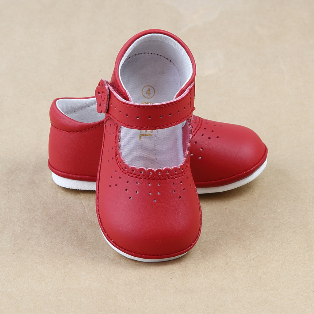 Angel Baby Girls Red Scalloped Leather Mary Janes  - Petitfoot.com