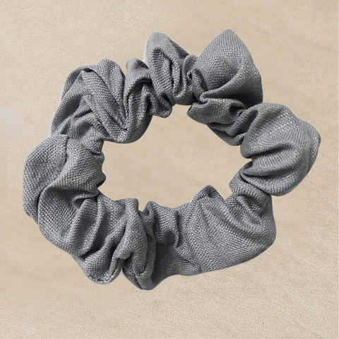 Gray Linen Scrunchie