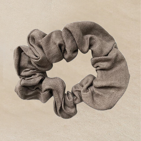 Taupe Linen Scrunchie