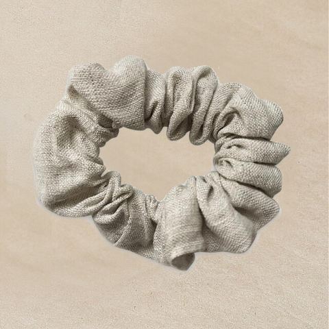 Natural Beige Linen Scrunchie