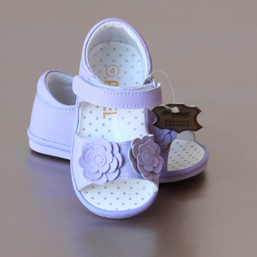 Angel Baby Girls Lilac Double Flower Applique Sandal
