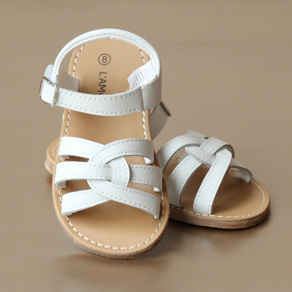 L'Amour Girls White Leather Braided Sandal