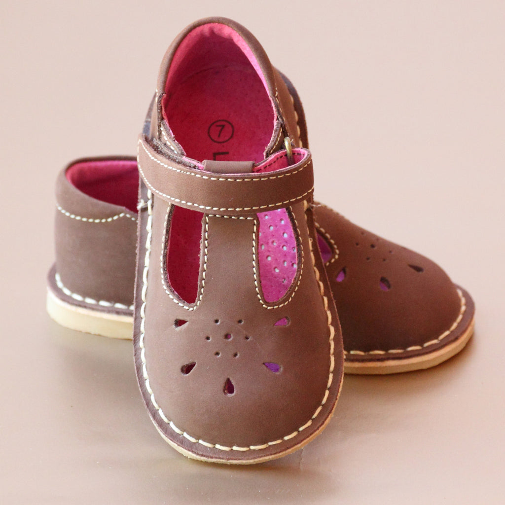 L'Amour Girls T-Strap Brown Nubuck Leather Classic Mary Janes