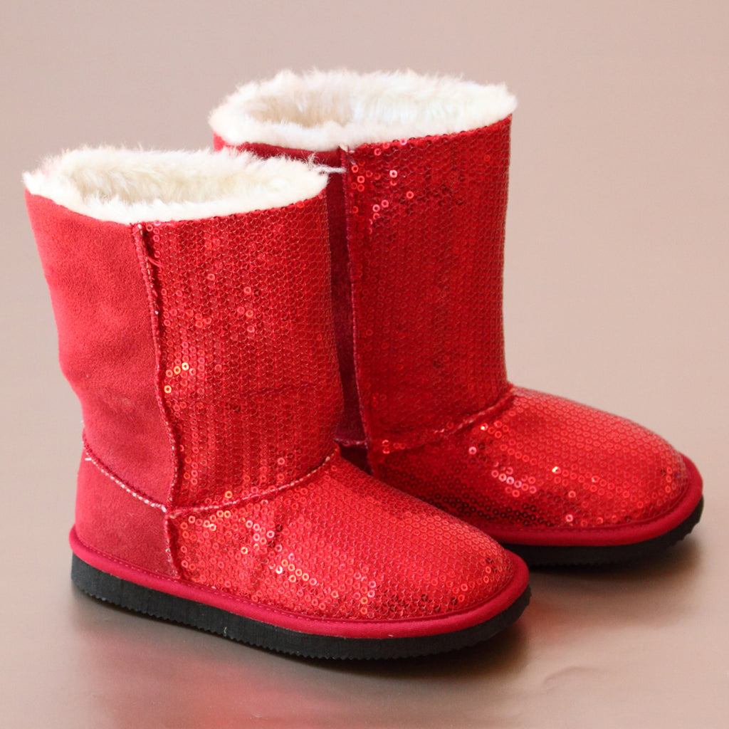 L'Amour Girls Red Sequin Fashion Boot