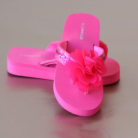 FINAL SALE - L'Amour Girls Sequin Strapped Flip Flop