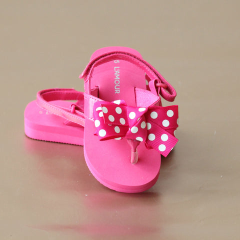 L'Amour Girls Polka Dot Bow Flip Flop Sandal