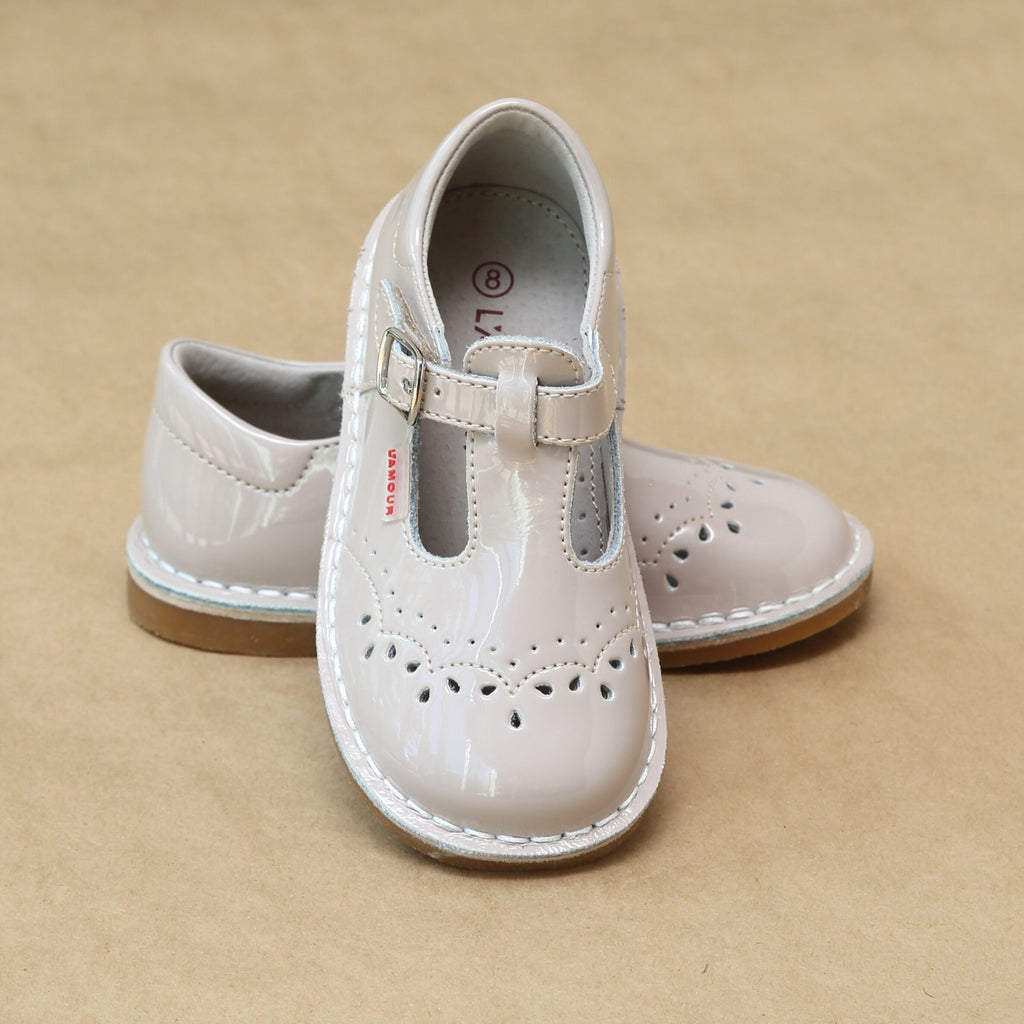 L'Amour Girls Embroidered Patent Almond Leather T-Strap Stitch Down Mary Jane - Petitfoot.com