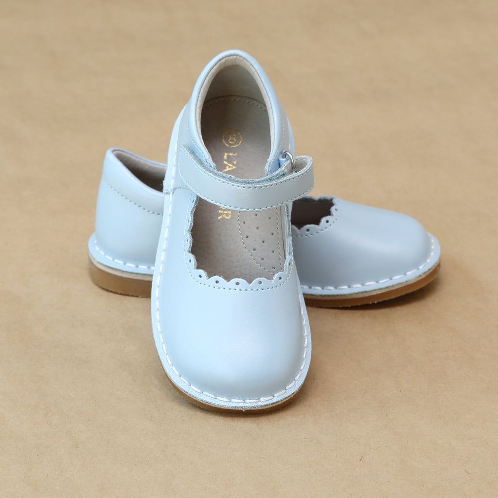 Toddler Girls Pearl Ice Blue Elsa Frozen T-Strap Scalloped Stitch Down Mary Jane by L'Amour Shoes - Petitfoot.com