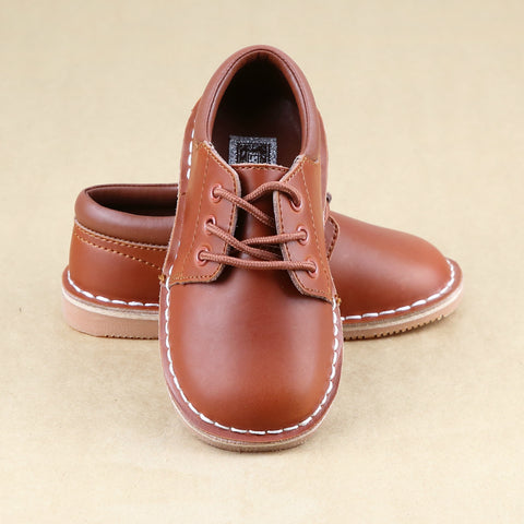 Tuck Boys Cognac Leather Mid-Top Lace Up Shoes