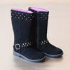 L'Amour Girls Black Suede Stud Boot