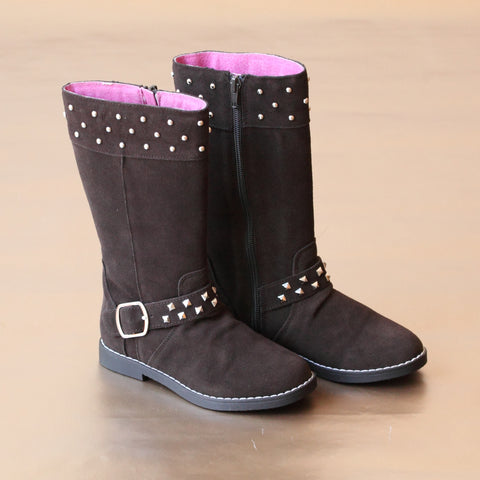 FINAL SALE - L'Amour Girls Suede Stud Boot