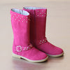L'Amour Girls Fuchsia Suede Stud Boot