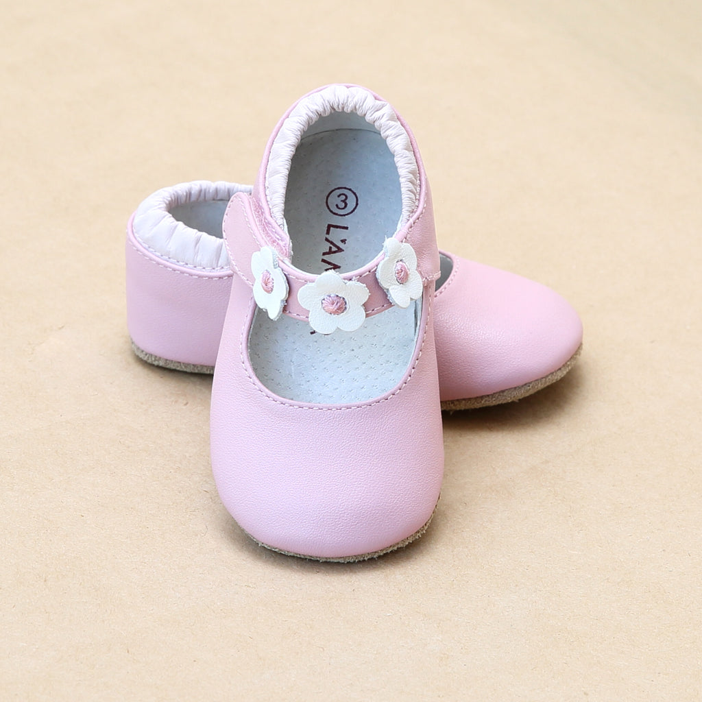 L'Amour Infant Girls Pink Flower Strap Leather Mary Jane - Petit Foot