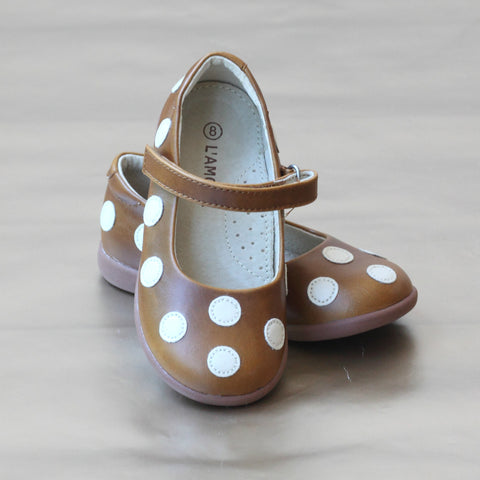 FINAL SALE - L'Amour Girls Leather Polka Dot Mary Jane