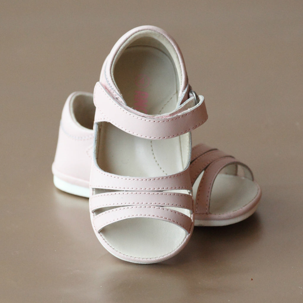 Angel Baby Girls Pink Triple Strap Open Toe Sandal