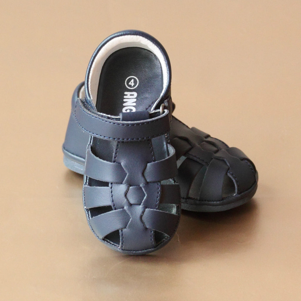 Angel Baby Boys Navy Fisherman Sandal - Petitfoot.com