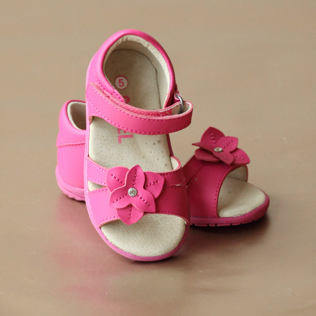 Angel Toddler Girls Fuchsia Comfortable Leather Flower Sandal