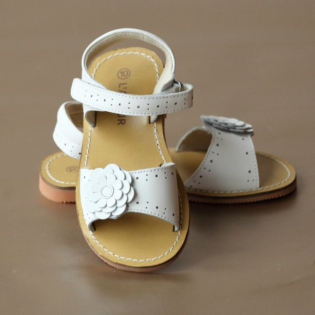 L'Amour Girls White Flower Perforated Leather Sandal