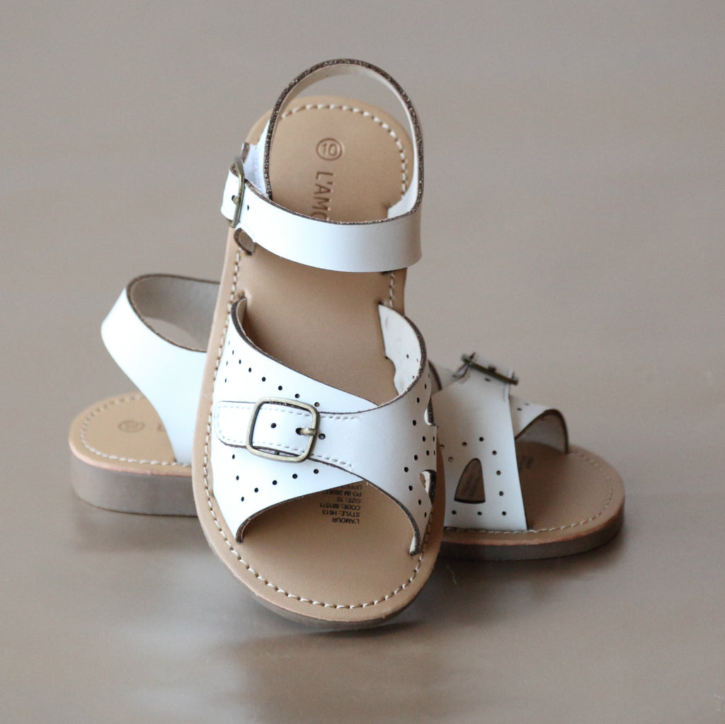 L'Amour Girls White Buckled Leather Sandal