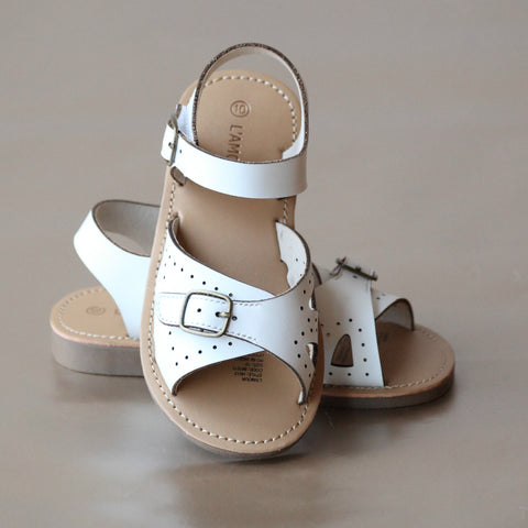 L'Amour Girls Buckled Leather Sandal