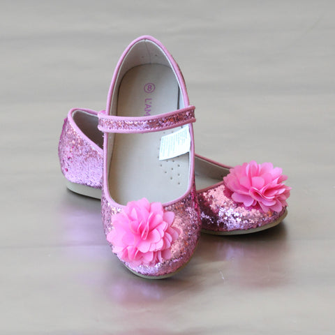 FINAL SALE - L'Amour Girls Holiday Glitter Flower Flat